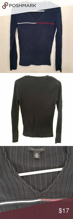 TOMMY ribbed pullover This sweater/shirt is great alone or layered. It's flattering and slimming and was used a lot, but has a lot of life left. Looks great with jeans and leather boots. (I don't know why the other pics show it as black, but it's blue as shown in first pic) Tommy Hilfiger Sweaters V-Necks