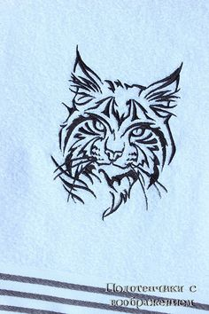 Купить Рысь. Большое полотенце. - белый, рысь, дикое животное, большая кошка, силуэт кошки