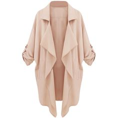 Choies Beige Lapel Roll Up Sleeve Open Front Trench Coat ($20) ❤ liked on Polyvore featuring outerwear, coats, jackets, choies, cardigans, beige, beige coat, beige trenchcoat, open front coat and beige trench coat