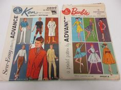 Vintage Sewing Patterns Barbie Ken Dolls Description Grab bag of Vintage Sewing Patterns Barbie Ken Dolls As this is a grab bag, we are unable to answer questions about specific items within. Ken Doll, Grab Bags, Barbie And Ken, Vintage Sewing Patterns, Dolls, Prints, Puppet, Doll, Baby