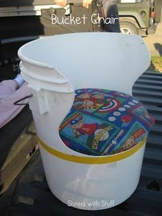 Sisters with Stuff: Repurposed plastic bucket into a kids chair. Click the pin for free samples! 5 Gallon Buckets, Plastic Buckets, Plastic Bottles, Bucket Chairs, Bucket Seats, Diy Chair, Kids Furniture, Classroom Decor, Diy For Kids