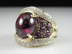 Amethyst Diamond Ring 14k Yellow Gold Cabochon Purple Cluster Cocktail 7 34cttw   eBay