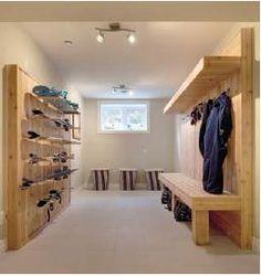 Interiors, Design, Mudroom Great Ski and Snowboard Storage Featured in… Cabin Interiors, Mudroom, Skiing, Architecture, House Design, Ski Chalet, Bike Storage, Garage Storage, California Camping