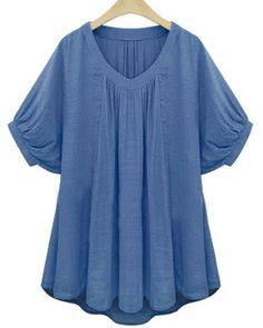 Stylish V-Neck Batwing Sleeve Solid Color Pleated Blouse For Women