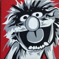 Animal Muppets Pop Art Portrait Acrylic On Canvas by BeachFrogPond