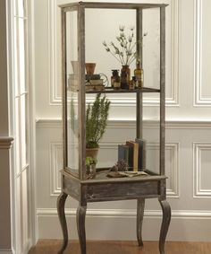 Tall Display Case with Driftwood Finish
