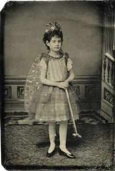 ANTIQUE TINTYPE, fairy costume, little girl