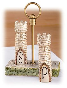 """Celtic Castle"" Salt And Pepper Set In Tray"
