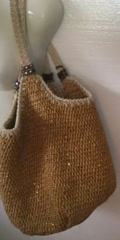 The SAK Hobo Bag Hand Crocheted Straw/Wicker Gold Accent LARGE Tote Shoulderbag