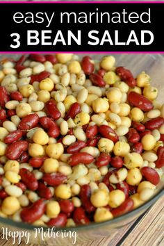 Quick & Easy Italian 3 Bean Salad Recipe – Happy Mothering Are you looking for a yummy way to enjoy beans as part of a healthy diet? This Italian Salad recipe is delicious and incredibly easy to make! 3 Bean Salad, Three Bean Salad, Bean Salad Recipes, Healthy Salad Recipes, Gourmet Recipes, Real Food Recipes, Healthy Snacks, Mixed Bean Recipes, Lunch Recipes