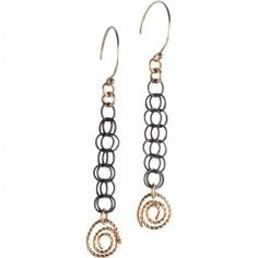 Tracy Arrington E117 GO Earrings available at www.poppyarts.com!  $76 The new look of classic in oxidized silver and 14K gold fill.  #classic #tracyarrington #poppymadebyhand