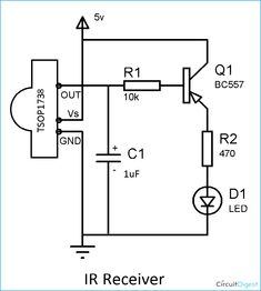 Here in our circuit we are building IR remote and its receiver. We are using IR LED as transmitter and as IR receiver to build this IR transmitter and receiver circuit. Electronics Mini Projects, Electronic Circuit Projects, Electronics Basics, Hobby Electronics, Electrical Projects, Electronics Components, Electronic Engineering, Electronics Gadgets, Electrical Circuit Diagram