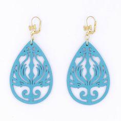 $11.99 Sky Blue Phoenix Wood Earrings Brass Teardrop by MoonRoseDesign