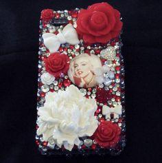 Marilyn Monroe rhinestone phone case by JessVeniceDesigns