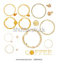 vector illustration of coffee splashes in three different colours and word coffee with stylized o letter - stock vector