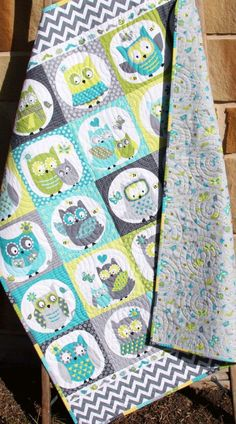 Owl Baby Quilt Boy Patchwork Bedding Blanket by SunnysideDesigns2
