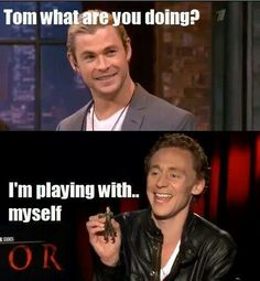 Tom Hiddleston plays with himself :)