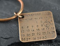 nice Personalized Key Chain/ Date Tag/ Calendar charm. Made from solid bronze, gift for wedding anniversary. for him Anniversary Ideas For Him, Bronze Anniversary Gifts, 8th Wedding Anniversary Gift, 9 Month Anniversary, Anniversary Boyfriend, Anniversary Gifts For Couples, Bronze Gifts, Romantic Gifts For Him, Couple Gifts