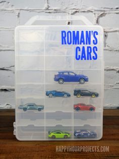 DIY Matchbox or Hot Wheels Storage Solution at www.happyhourprojects.com | Personalize it with vinyl die-cuts to make it special, for a fraction of the price of a branded carrier!