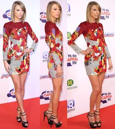 """Taylor Swift Sparkles in Knitted Mini Dress and Charlotte Olympia """"Octavia"""" Sandals Love the dress!"""