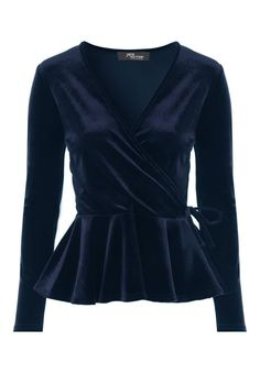 Embrace total luxury with this gorgeous top. In velvet featuring a wrap design and peplum waist with long sleeves, it& a total style steal. Wear with a figu. Sari Blouse Designs, Blouse Styles, Casual Fall Outfits, Classy Outfits, Velvet Dress Designs, Fancy Dress Design, Dress Outfits, Fashion Outfits, Hijab Style