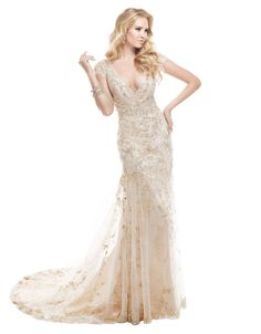 MAGGIE SOTTEROTuscany Sheath Gown Kleinfeld's at the Bay. Only with an insert in the front so it's not so low. Beautiful!