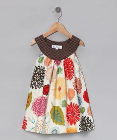 White Leaf & Flower A-Line Dress - Toddler & Girls    $27.99 original $52.00