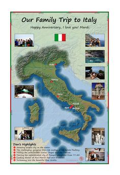 This Passport Map details a three generation Family Trip to Italy, showing the 10 member group's highlights. What a trip to bring them all together with a shared memory of an amazing part of the Earth. Travel Tours, Travel Maps, Parts Of The Earth, Sistine Chapel, Custom Map, Travel Memories, Happy Anniversary, Tour Guide, Italy Travel