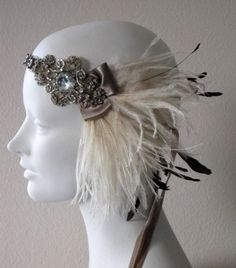So stinking cute :) Cocoa And Ivory Ostrich Feather Flapper Headband by BaroqueAndRoll, $86.00