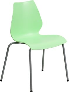 HERCULES Series 770 lb. Capacity Green Stack Chair with Lumbar Support and Silver Frame, RUT-288-GREEN-GG by Flash Furniture | BizChair.com