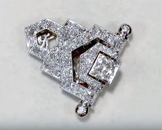 3.50 ct Diamond, 18 ct White Gold Clip Brooch - Art Deco - Antique Circa 1920 - AC Silver A4351