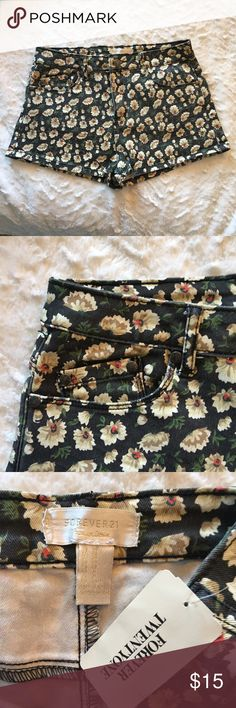 Brand new floral jean shorts Super cute brand new floral jean shorts from Forever21. In perfect condition! Great for the upcoming spring and summer months with a crop top or body suit and sandals. Forever 21 Shorts Jean Shorts