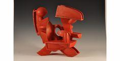 "Doug Herren, Red Ewer, Stoneware with bronze glaze, enamel paint, 20"" x 22"" x 12"", 2012"
