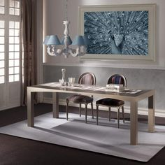 Contemporary and modern table M'arco. Fixed or extendable table with carved arch-shaped folding top and legs in solid covered wood.