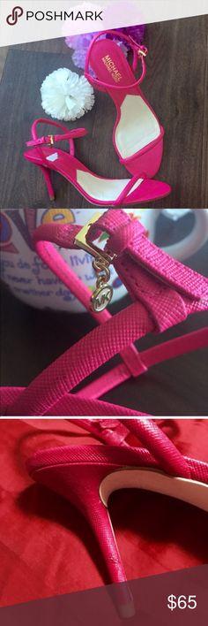 BNWOT MK Carlene Hot pink heels bnwot. super pretty. never used. one scuff as in 3rd pic Michael Kors Shoes