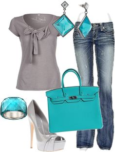 """aqua & gray"" by karenamber ❤ liked on Polyvore"