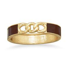 Gold Tone Link Fashion Bangle Bracelet with Chocolate Enamel