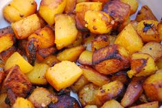 Recipe: Caramelized Butternut Squash 1 lb butternut squash, cubed (I bought it pre-cut from Costco) 2 TBSP olive or coconut oil pinch red pepper flakes sal
