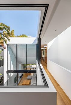 The hallway wraps around the courtyard below. Sliding windows blend the divide between the interior and exterior spaces. Interior Architecture, Interior And Exterior, Interior Design, Architecture Panel, Drawing Architecture, Architecture Portfolio, Design Studio, House Design, Design Food