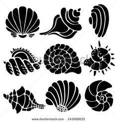 Sea shells icon set isolated on a white background, art logo design - stock vec. Sea shells icon set isolated on a white background, art logo design - stock vector Stencils, Stencil Art, Stencil Patterns, Stencil Designs, Ui Patterns, Doodle Drawing, Geniale Tattoos, Tatoo Art, Art Logo