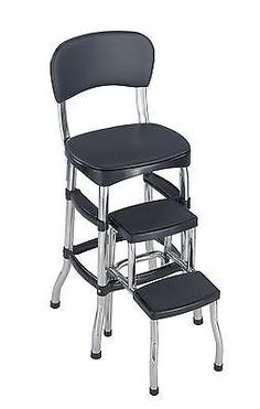 Details about Retro Counter Chair Step Stool Vintage Kitchen Black Home Folding Bar Ladder New  sc 1 st  Pinterest & Windsome Trading Inc Natural Conductor Step Stool Sold in packs of ... islam-shia.org