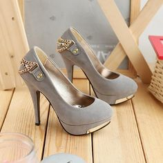 Sexy Gold Chain Embellished Grey High Heel Platform Pumps