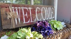 Check out this item in my Etsy shop https://www.etsy.com/listing/243761419/hand-painted-welcome-barn-board-sign