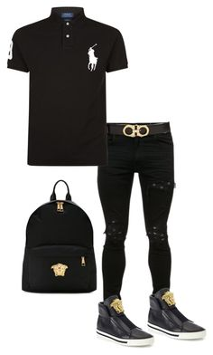"""Versace"" by madcowmc on Polyvore featuring Salvatore Ferragamo, Polo Ralph Lauren and Versace"