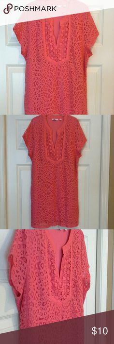 3 / $15 sale *  Gorgeous coral top Top has crochet design with undershirt. In good condition with no tears or stains Isaac Mizrahi Tops