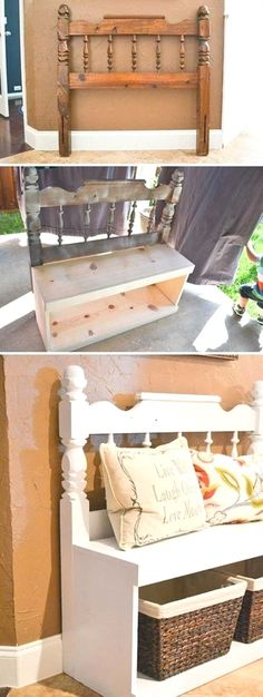 Entryway bench made from an old headboard and some boards. #HomeDecor