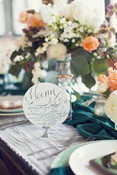 Circular menu | Event Design & Florals: Rock Paper Scisscors Events - rpscissors.com | Photography: Peaches And Mint - www.peachesandmint.com Read More: http://www.stylemepretty.com/2014/05/12/emerald-mint-peach-wedding-inspiration/