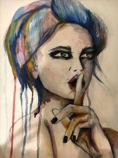 Art, shhh, sarah Louise Johnson, portrait, ink, watercolour