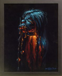Shrunken Head Black Velvet Painting #2 by Tiki artist Thor