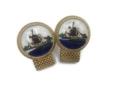 Dutch Windmill Cufflinks Blue Red Green and White by RibbonsEdge